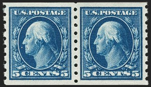 Sale Number 1202, Lot Number 2439, 1910-13 Perf 8.5 Horizontal Coils, Single-Line Watermark (Scott 392-396)5c Blue, Coil (396), 5c Blue, Coil (396)