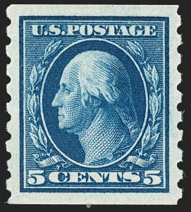 Sale Number 1202, Lot Number 2440, 1910-13 Perf 8.5 Horizontal Coils, Single-Line Watermark (Scott 392-396)5c Blue, Coil (396), 5c Blue, Coil (396)