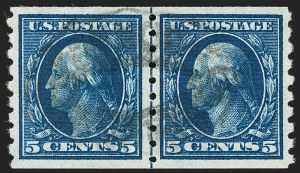 Sale Number 1202, Lot Number 2441, 1910-13 Perf 8.5 Horizontal Coils, Single-Line Watermark (Scott 392-396)5c Blue, Coil (396), 5c Blue, Coil (396)