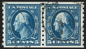 Sale Number 1202, Lot Number 2442, 1910-13 Perf 8.5 Horizontal Coils, Single-Line Watermark (Scott 392-396)5c Blue, Coil (396), 5c Blue, Coil (396)
