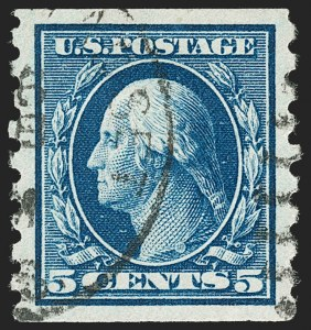 Sale Number 1202, Lot Number 2443, 1910-13 Perf 8.5 Horizontal Coils, Single-Line Watermark (Scott 392-396)5c Blue, Coil (396), 5c Blue, Coil (396)