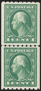 Sale Number 1202, Lot Number 2444, 1912 Perf 8.5 Coils, Single-Line Watermark (Scott 410-413)1c Green, Coil (410), 1c Green, Coil (410)