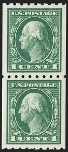 Sale Number 1202, Lot Number 2445, 1912 Perf 8.5 Coils, Single-Line Watermark (Scott 410-413)1c Green, Coil (410), 1c Green, Coil (410)