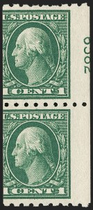 Sale Number 1202, Lot Number 2446, 1912 Perf 8.5 Coils, Single-Line Watermark (Scott 410-413)1c Green, Coil (410), 1c Green, Coil (410)
