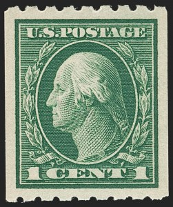 Sale Number 1202, Lot Number 2447, 1912 Perf 8.5 Coils, Single-Line Watermark (Scott 410-413)1c Green, Coil (410), 1c Green, Coil (410)