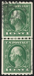 Sale Number 1202, Lot Number 2448, 1912 Perf 8.5 Coils, Single-Line Watermark (Scott 410-413)1c Green, Coil (410), 1c Green, Coil (410)