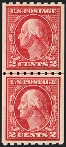 Sale Number 1202, Lot Number 2451, 1912 Perf 8.5 Coils, Single-Line Watermark (Scott 410-413)2c Carmine, Coil (411), 2c Carmine, Coil (411)