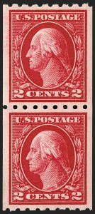 Sale Number 1202, Lot Number 2452, 1912 Perf 8.5 Coils, Single-Line Watermark (Scott 410-413)2c Carmine, Coil (411), 2c Carmine, Coil (411)