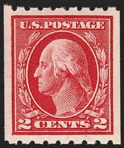 Sale Number 1202, Lot Number 2453, 1912 Perf 8.5 Coils, Single-Line Watermark (Scott 410-413)2c Carmine, Coil (411), 2c Carmine, Coil (411)