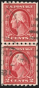 Sale Number 1202, Lot Number 2454, 1912 Perf 8.5 Coils, Single-Line Watermark (Scott 410-413)2c Carmine, Coil (411), 2c Carmine, Coil (411)