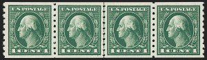 Sale Number 1202, Lot Number 2456, 1912 Perf 8.5 Coils, Single-Line Watermark (Scott 410-413)1c Green, Coil (412), 1c Green, Coil (412)