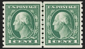 Sale Number 1202, Lot Number 2457, 1912 Perf 8.5 Coils, Single-Line Watermark (Scott 410-413)1c Green, Coil (412), 1c Green, Coil (412)
