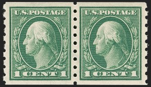 Sale Number 1202, Lot Number 2458, 1912 Perf 8.5 Coils, Single-Line Watermark (Scott 410-413)1c Green, Coil (412), 1c Green, Coil (412)