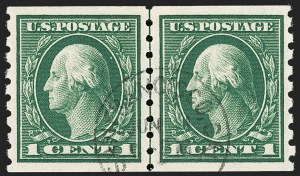 Sale Number 1202, Lot Number 2460, 1912 Perf 8.5 Coils, Single-Line Watermark (Scott 410-413)1c Green, Coil (412), 1c Green, Coil (412)