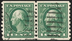 Sale Number 1202, Lot Number 2461, 1912 Perf 8.5 Coils, Single-Line Watermark (Scott 410-413)1c Green, Coil (412), 1c Green, Coil (412)