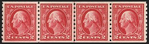 Sale Number 1202, Lot Number 2463, 1912 Perf 8.5 Coils, Single-Line Watermark (Scott 410-413)2c Carmine, Coil (413), 2c Carmine, Coil (413)