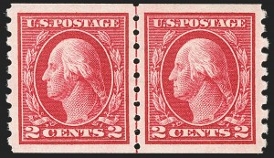 Sale Number 1202, Lot Number 2464, 1912 Perf 8.5 Coils, Single-Line Watermark (Scott 410-413)2c Carmine, Coil (413), 2c Carmine, Coil (413)