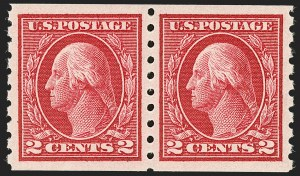 Sale Number 1202, Lot Number 2465, 1912 Perf 8.5 Coils, Single-Line Watermark (Scott 410-413)2c Carmine, Coil (413), 2c Carmine, Coil (413)