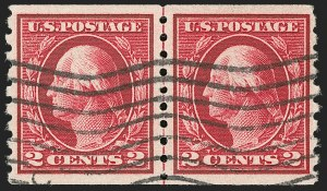 Sale Number 1202, Lot Number 2467, 1912 Perf 8.5 Coils, Single-Line Watermark (Scott 410-413)2c Carmine, Coil (413), 2c Carmine, Coil (413)
