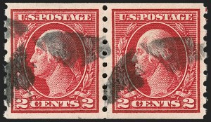 Sale Number 1202, Lot Number 2468, 1912 Perf 8.5 Coils, Single-Line Watermark (Scott 410-413)2c Carmine, Coil (413), 2c Carmine, Coil (413)