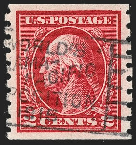 Sale Number 1202, Lot Number 2469, 1912 Perf 8.5 Coils, Single-Line Watermark (Scott 410-413)2c Carmine, Coil (413), 2c Carmine, Coil (413)