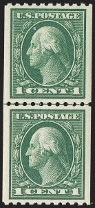 Sale Number 1202, Lot Number 2470, 1914 Perf 10 Vertical Coils, Single-Line Watermark (Scott 441-442)1c Green, Coil (441), 1c Green, Coil (441)