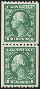 Sale Number 1202, Lot Number 2471, 1914 Perf 10 Vertical Coils, Single-Line Watermark (Scott 441-442)1c Green, Coil (441), 1c Green, Coil (441)
