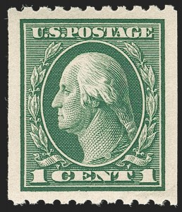 Sale Number 1202, Lot Number 2472, 1914 Perf 10 Vertical Coils, Single-Line Watermark (Scott 441-442)1c Green, Coil (441), 1c Green, Coil (441)