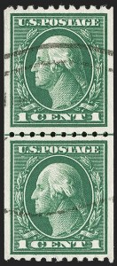 Sale Number 1202, Lot Number 2473, 1914 Perf 10 Vertical Coils, Single-Line Watermark (Scott 441-442)1c Green, Coil (441), 1c Green, Coil (441)