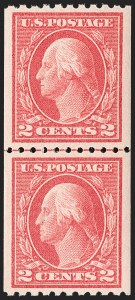 Sale Number 1202, Lot Number 2475, 1914 Perf 10 Vertical Coils, Single-Line Watermark (Scott 441-442)2c Carmine, Ty. I, Coil (442), 2c Carmine, Ty. I, Coil (442)