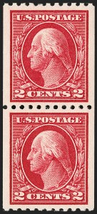 Sale Number 1202, Lot Number 2476, 1914 Perf 10 Vertical Coils, Single-Line Watermark (Scott 441-442)2c Carmine, Ty. I, Coil (442), 2c Carmine, Ty. I, Coil (442)