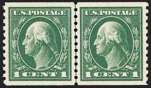 Sale Number 1202, Lot Number 2479, 1914 Perf 10 Horizontal Coils, Single-Line Watermark (Scott 443-447)1c Green, Coil (443), 1c Green, Coil (443)