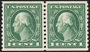 Sale Number 1202, Lot Number 2480, 1914 Perf 10 Horizontal Coils, Single-Line Watermark (Scott 443-447)1c Green, Coil (443), 1c Green, Coil (443)