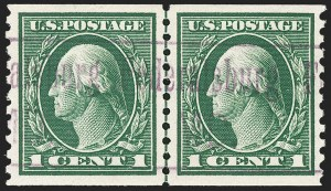 Sale Number 1202, Lot Number 2482, 1914 Perf 10 Horizontal Coils, Single-Line Watermark (Scott 443-447)1c Green, Coil (443), 1c Green, Coil (443)