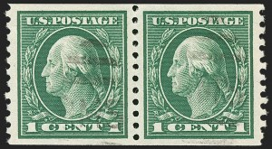 Sale Number 1202, Lot Number 2483, 1914 Perf 10 Horizontal Coils, Single-Line Watermark (Scott 443-447)1c Green, Coil (443), 1c Green, Coil (443)