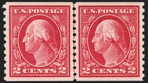 Sale Number 1202, Lot Number 2486, 1914 Perf 10 Horizontal Coils, Single-Line Watermark (Scott 443-447)2c Carmine, Coil (444), 2c Carmine, Coil (444)