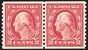 Sale Number 1202, Lot Number 2487, 1914 Perf 10 Horizontal Coils, Single-Line Watermark (Scott 443-447)2c Carmine, Coil (444), 2c Carmine, Coil (444)