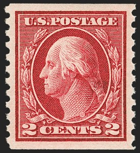 Sale Number 1202, Lot Number 2488, 1914 Perf 10 Horizontal Coils, Single-Line Watermark (Scott 443-447)2c Carmine, Coil (444), 2c Carmine, Coil (444)