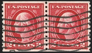 Sale Number 1202, Lot Number 2490, 1914 Perf 10 Horizontal Coils, Single-Line Watermark (Scott 443-447)2c Carmine, Coil (444), 2c Carmine, Coil (444)