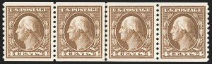 Sale Number 1202, Lot Number 2500, 1914 Perf 10 Horizontal Coils, Single-Line Watermark (Scott 443-447)4c Brown, Coil (446), 4c Brown, Coil (446)