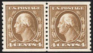 Sale Number 1202, Lot Number 2502, 1914 Perf 10 Horizontal Coils, Single-Line Watermark (Scott 443-447)4c Brown, Coil (446), 4c Brown, Coil (446)