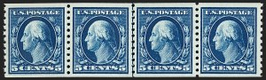 Sale Number 1202, Lot Number 2507, 1914 Perf 10 Horizontal Coils, Single-Line Watermark (Scott 443-447)5c Blue, Coil (447), 5c Blue, Coil (447)