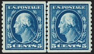 Sale Number 1202, Lot Number 2508, 1914 Perf 10 Horizontal Coils, Single-Line Watermark (Scott 443-447)5c Blue, Coil (447), 5c Blue, Coil (447)