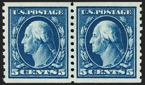 Sale Number 1202, Lot Number 2509, 1914 Perf 10 Horizontal Coils, Single-Line Watermark (Scott 443-447)5c Blue, Coil (447), 5c Blue, Coil (447)