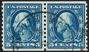 Sale Number 1202, Lot Number 2511, 1914 Perf 10 Horizontal Coils, Single-Line Watermark (Scott 443-447)5c Blue, Coil (447), 5c Blue, Coil (447)