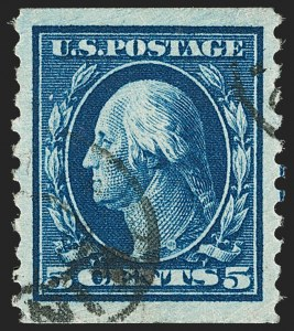 Sale Number 1202, Lot Number 2512, 1914 Perf 10 Horizontal Coils, Single-Line Watermark (Scott 443-447)5c Blue, Coil (447), 5c Blue, Coil (447)