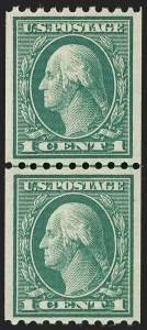 Sale Number 1202, Lot Number 2513, 1915 Perf 10 Vertical Rotary Press Coils, Single-Line Watermark (Scott 448-449)1c Green, Coil (448), 1c Green, Coil (448)