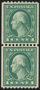 Sale Number 1202, Lot Number 2514, 1915 Perf 10 Vertical Rotary Press Coils, Single-Line Watermark (Scott 448-449)1c Green, Coil (448), 1c Green, Coil (448)