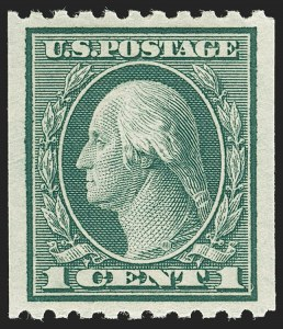 Sale Number 1202, Lot Number 2515, 1915 Perf 10 Vertical Rotary Press Coils, Single-Line Watermark (Scott 448-449)1c Green, Coil (448), 1c Green, Coil (448)