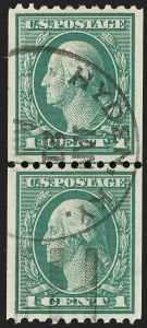 Sale Number 1202, Lot Number 2516, 1915 Perf 10 Vertical Rotary Press Coils, Single-Line Watermark (Scott 448-449)1c Green, Coil (448), 1c Green, Coil (448)